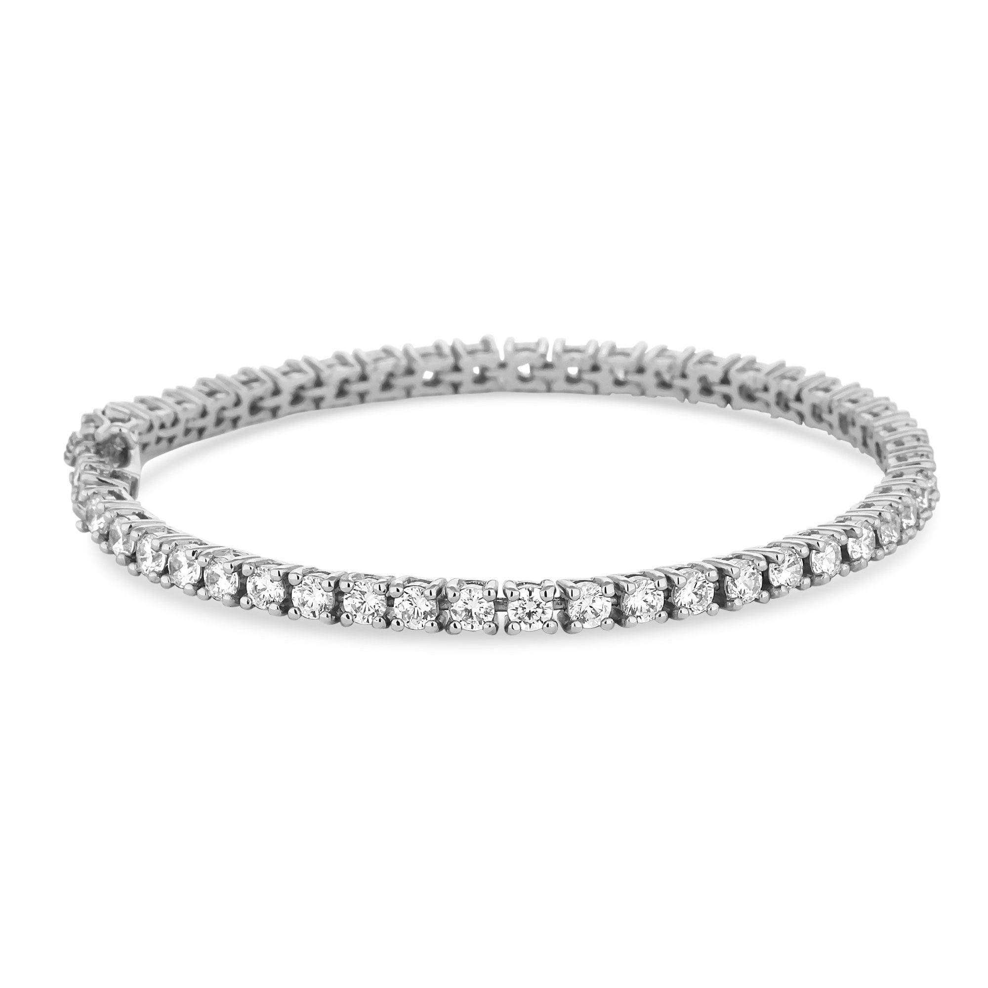 Ladies Rubover Tennis 925 Sterling Silver Bracelet with Cubic Zirconia Stones